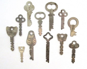 12 vintage keys, odd and old keys, antique keys, wedding keys, little keys, primitive key, rustic key, key to my heart, collection of keys 9