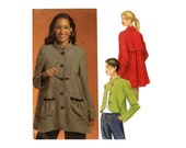 Easy Jackets Pattern Front Button High Collar Back Pleat Short or Long Short Flared Tent Jacket Butterick 5143 Bust 38 40 42 44 46 Plus Size