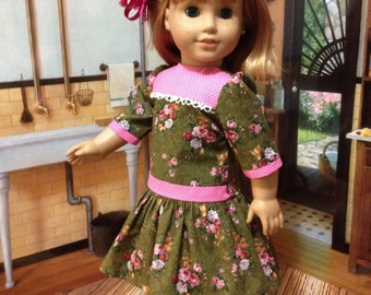 "SALE 1950's   Cute "" Roses and Dots"" dropped waist dress fits American Girl or similar sized 18 inch dolls"