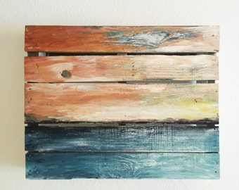 Original acrylic abstract painting on wood.