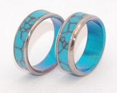 Titanium Wedding Bands, titanium wedding rings, mens rings, womens rings, turquoise, unique wedding rings - YOU and ME in the TURQUOISE Sea