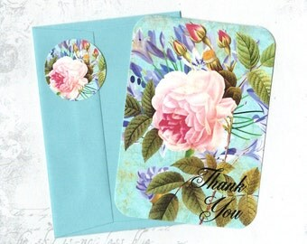 Thank You, Cards, Roses, Rose Cards, Flat Note Cards, Stickers