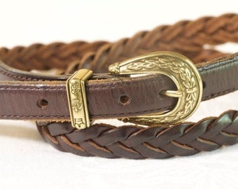 Vintage Women's belt - 1996 Brown Braided Leather Belt with gold toned decorative buckle by Talbot size large