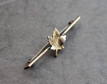 Victorian Autumn Leaf Brooch / Tiny Edwardian Woodland Pin