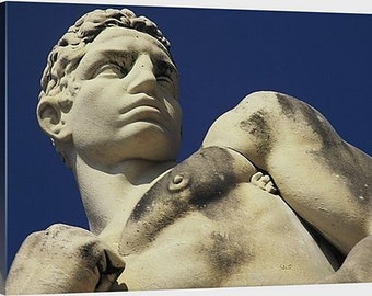 Marble Athlete - Fine Art Canvas Print, Rome, Italy, Male Figure, Statue
