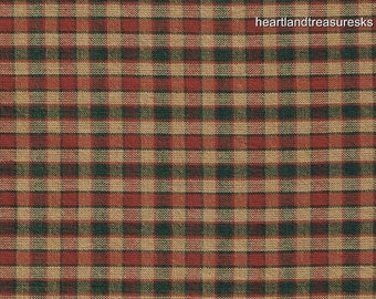 Dunroven House H-48 Homespun Green & Red Checked Fabric 1/2 Yard Cut Off The Bolt
