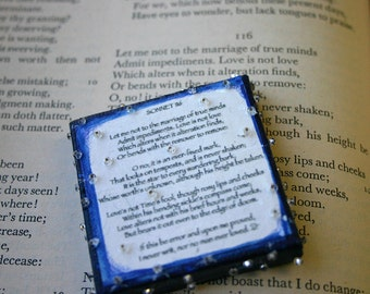 Love Poem- Sonnet 116- Miniature Canvas- Shakespeare- Mixed Media- 2x2- Midnight Blue