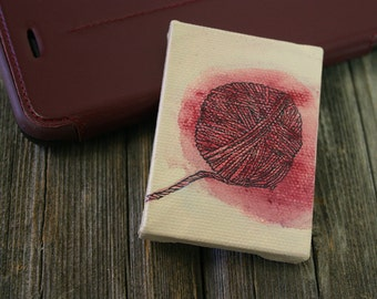 Small Yarn Painting- Acrylic, Ink on Canvas- Ball of Red Yarn- 2x2.75- Easel Included- ACEO