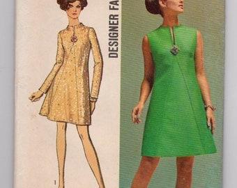 Vintage 1969 Ladies Dress Pattern Simplicity 8537 Size 14