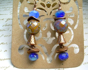 Copper And Czech Picasso Dangle Earrings With Bold Copper Beads