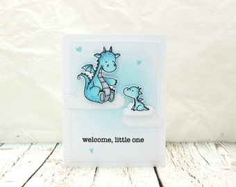 New Baby Card, Happy New Baby Card, New Baby Boy Card, Baby Boy Card, Baby Dragon Card, New Baby Brother Card, Baby Brother Card, Babies