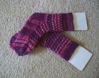 Socks - Handknitted Socks - Colors Mixed Purples Selfstriping - Size Medium 7-8 US