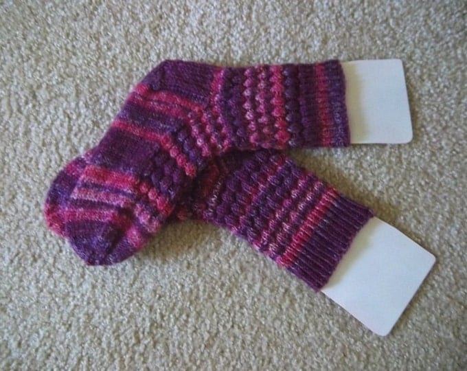 Socks - Handknitted Socks - Colors Mixed Purples Selfstriping - Size Medium 7-8 US