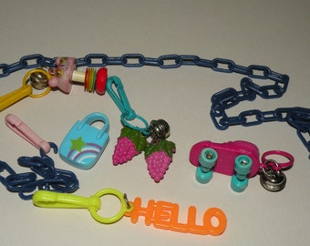 1980s 5 Plastic Charms and Necklace