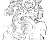 Unicorn with Balloons Printable Adult coloring page