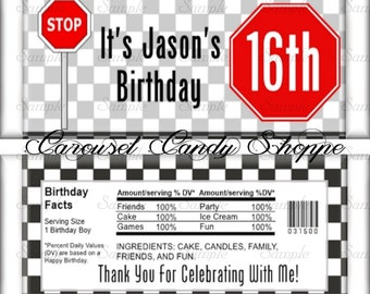 Black White Checks 16th Birthday Party Candy Bar Wrappers