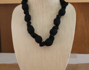 Fabric Covered Statement Teething Necklace in Black