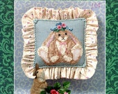 Blossom Bunny Rabbit Easter Bonnet Pink Roses Yellow Ribbon Bow Spring Picture Counted Cross Stitch Embroidery Craft Pattern Sheet