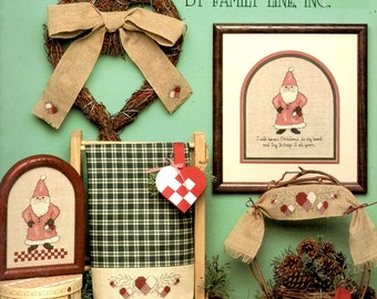Santa and Company Red Coat Hat Fur Trim White Hearts Ornaments Trees Counted Cross Stitch Embroidery Craft Pattern Leaflet Leisure Arts 507
