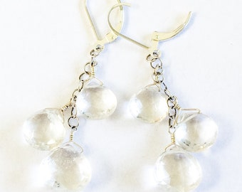 Crystal Quartz Faceted Briolette Earrings