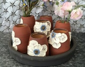 Reserved for Anne - Ceramic Centerpiece Vase, Bud Vases in Tangerine and Brick Red Clay with a Poppies with Tray