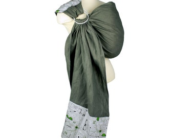 Linen Banded Ring Sling Baby Carrier Baby Sling - #Geek -Instructional DVD Included - FAST SHIPPING