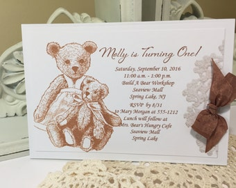 Teddy Bear Party Invitation, Baby Girl Vintage Style, Baby Shower Invitation Teddy Bear Party... Birthday Party Invitation