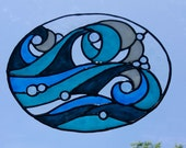Rolling Ocean Waves stained glass window Cling