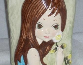 Mid Century Big Eyed Girl Ceramic Vase