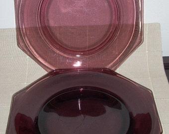 4 Mid Century Modern Hazel Atlas Moroccan Amethyst Purple Glass Dinner Plates