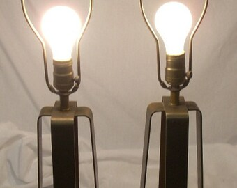 Mid Century Brutalist Brass Table Lamps