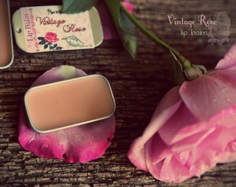 Vintage Rose Lip Balm. Feminine scent, delicate lip care. Vegan lip balm. Made with organic ingredients.