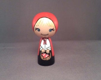 Little Red Riding Hood Kokeshi Peg Wooden Doll