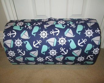 Monogrammed Childrens Pre School THICK COMFY Nap Mat Nautical Toss Ships Whales  w/ Attached Cuddle Double Sided Minky Blanket and Pillow