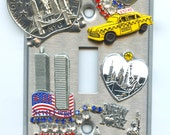 New York City Switch Plate Cover With New York Souvenirs & Twin Towers Image