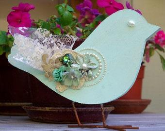 Bird Ornament Decoration Shabby Green Wood Accent