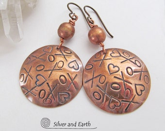 XOXO Earrings Copper, Romantic Jewelry Gifts, Metal Dangle Earrings, Handmade Artisan Jewelry, Copper Anniversary, Valentine Gift for Her