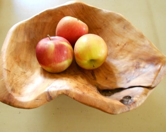Vintage Natural Burl Wood Bowl / 80s  SALE