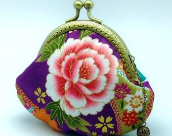 Peony - Japanese Kimono Fabric - Small clutch / Coin purse (JS-65) R1