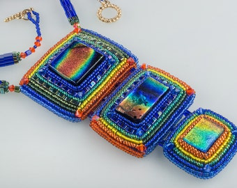 Glass Rainbow Necklace, Bead Embroidery Dichroic Glass Pendant, High-Tech Style, OOAK