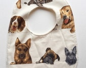 Baby Bib with Organic Cotton. Curious Canines Dogs. Unisex. Free shipping