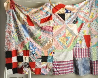 Vintage Antique Patchwork Crazy Quilt Top Feed Sack Dress Scraps Project HAND stitched Baby Blanket