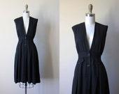40s Dress - Vintage 1940s Jumper Dress - Rare Black Rayon Gabardine Swing Dress M - Lullaby Dress
