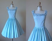 50s Dress - Vintage 1950s Dress - Pale French Blue Pintucked Lace Full Skirt Cotton Sundress XS S - Frosting Dress