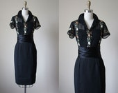 50s Dress - Vintage 1950s Dress - Black Floral Pintucked Embroidered Cotton Satin Cocktail Dress S - Serious Moonlight Dress