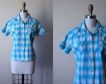 1950s Western Shirt - Vintage 50s Aqua Apple Green Plaid Rose Embroidered Pearl Snap H Bar C Blouse S - Rope Trick Top