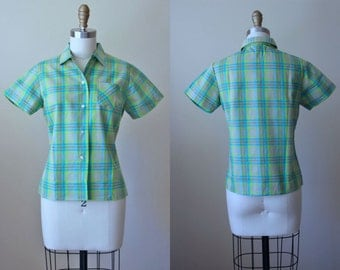 1950s Top - 50s Vintage Blouse - Aqua Turquoise Plaid Fitted Deadstock Shirt S - Girl Next Door Top