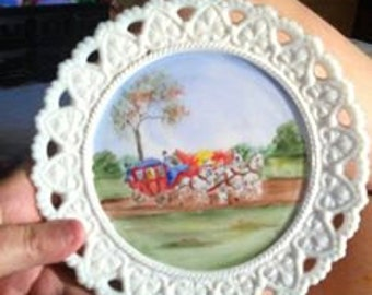Vintage Cutwork Milkglass Handpainted Plate - Horses & Carriage