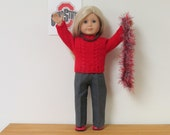 5 Piece Scarlet & Gray Ohio State Fan Outfit For American Girl Dolls