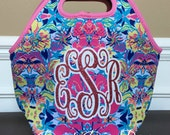 Lilly Pulitzer Inspired Neoprene Lunch Box, Monogram Personalized Lunch Box, Lunch Tote, Lunch Bag, Back to School